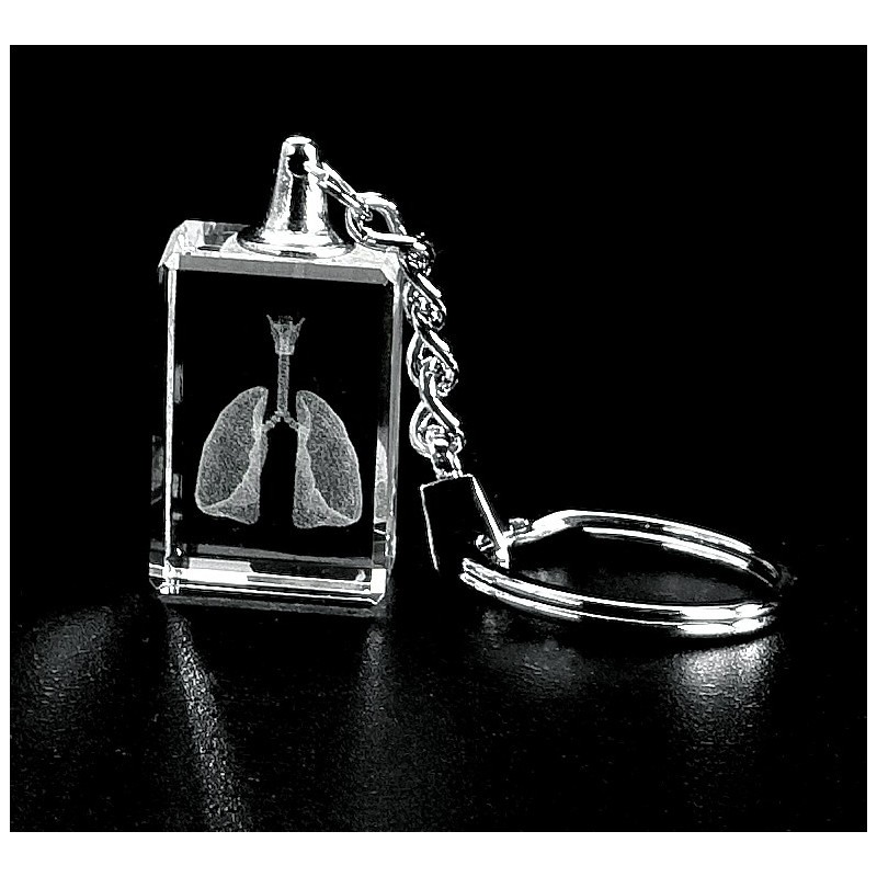 Lungs with Larynx Crystal Key Chain