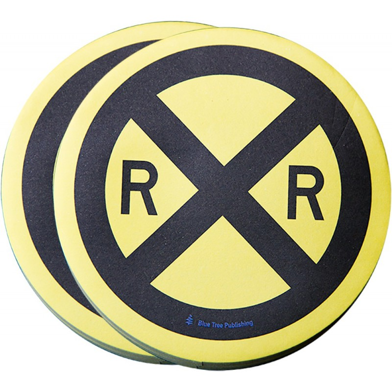 Railroad Crossing Road Sign Stick Note 2 pack