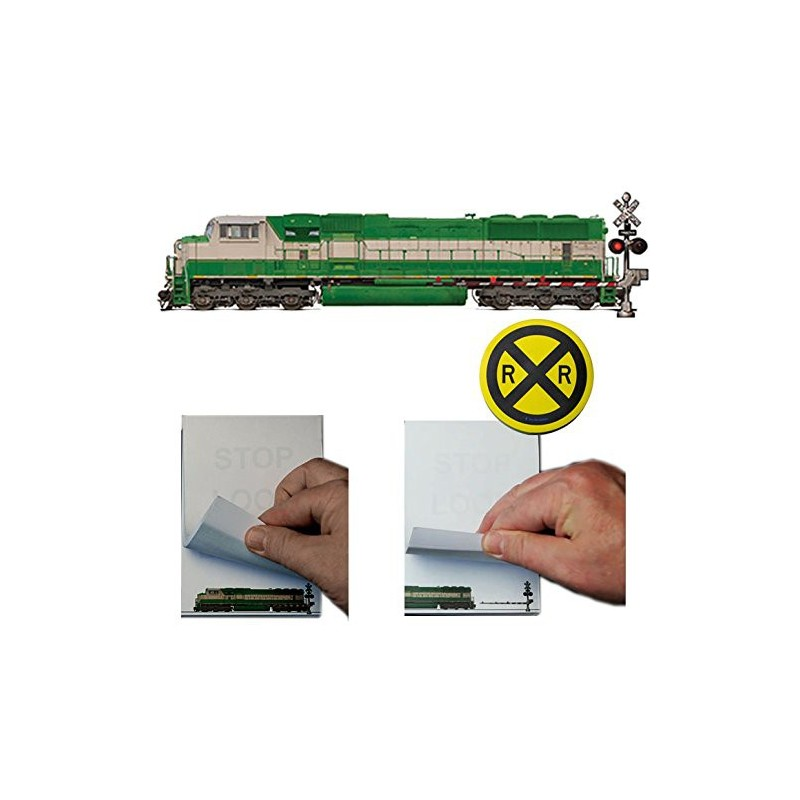 Railroad Safety Flip Note Pad and Railroad Crossing Sign Stick Note Set