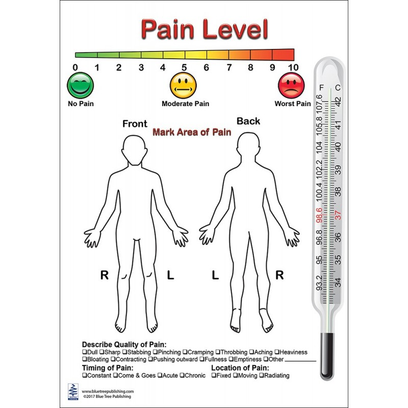 Pain Level Anatomical Chart front