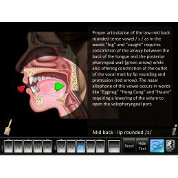 Speech Articulation - Front/Back Vowels Mobile App key highlight text