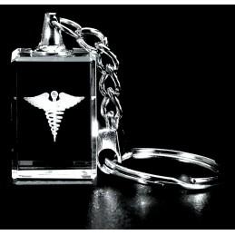 Caduceus Crystal Key Chain